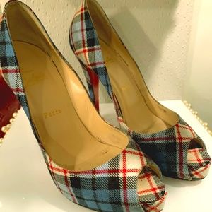 Blue and Red Plaid Christian Louboutins